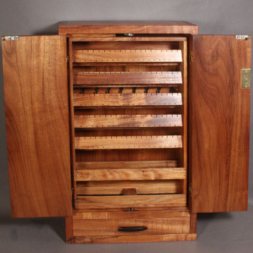 custom wall mounted koa jewelry cabinet. Black Bedroom Furniture Sets. Home Design Ideas