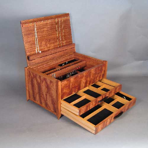 Bubinga jewelry box with handcrafted details for Handmade wooden jewelry box